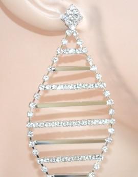 ORECCHINI donna ARGENTO eleganti STRASS cristalli pendenti SPOSA da cerimonia E60