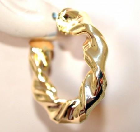 ORECCHINI donna cerchi oro dorato metallo lucido ondulati semi aperti earring BB47