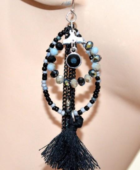 ORECCHINI etnici neri grigio argento donna tribali perline ciondoli piume fili lunghi CC100