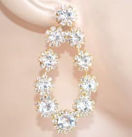 ORECCHINI ORO pendenti donna cristalli strass trasparenti eleganti cerimonia E200