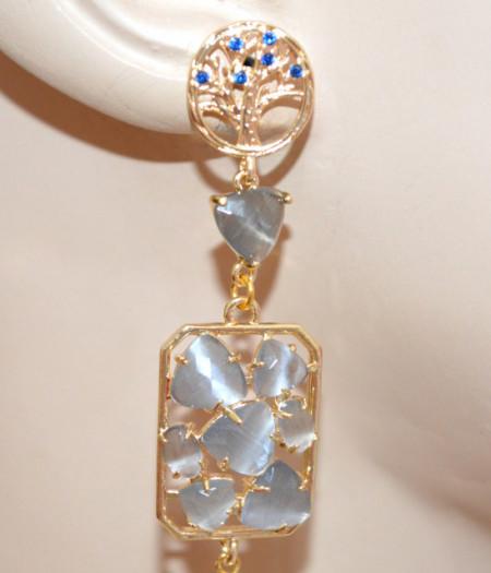 ORECCHINI PIETRE GRIGIO PERLA donna pendenti lunghi oro Occhio Gatto Bronzo strass blu eleganti P28