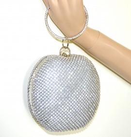 POCHETTE a bracciale donna ARGENTO borsello sposa cuore strass clutch bag cristallo elegante G42