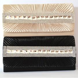 Pochette borsello donna cerimonia nera beige strass borsa clutch bag cristalli elegante sac bolsa B11