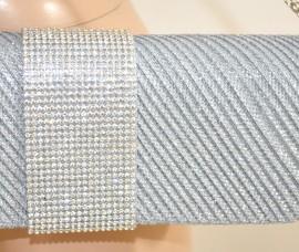 POCHETTE donna ARGENTO cristalli STRASS borsello borsa elegante da cerimonia E50