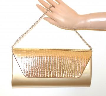 POCHETTE ORO DORATO borsello metallizzato donna borsa borsetta tracolla argento G54