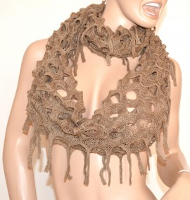 SCIARPA donna scialle scaldacollo BEIGE lana bufanda scarf écharpe шарф Schal 10