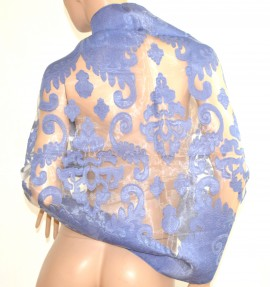 STOLA BLU elegante donna seta velata ricamata coprispalle maxi foulard da cerimonia E80