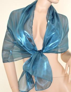 Stola Coprispalle donna azzurra metallizzato elegante per abito da sera\cerimonia
