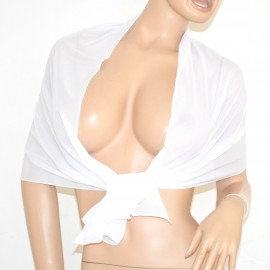 STOLA coprispalle donna foulard cerimonia tinta unita seta bianco trasparente elegante 165P
