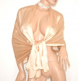 STOLA donna BEIGE coprispalle 30% SETA velata elegante MAXI foulard scialle cerimonia abito da sera E85