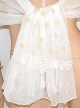 STOLA donna BIANCA foulard POIS coprispalle matrimonio velo da SPOSA cerimonia elegante 45X