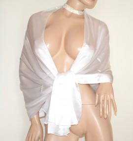 STOLA donna BIANCO AVORIO coprispalle 30% SETA velata elegante MAXI foulard scialle sciarpa E85