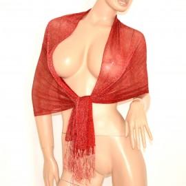 STOLA donna foulard coprispalle DA CERIMONIA elegante ROSSO brillantinato da sera shimmer velata 200P
