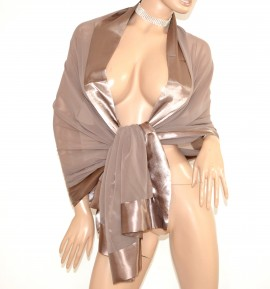 l'atteggiamento migliore e761d 193dd STOLA donna MARRONE BRONZO maxi foulard seta raso ...