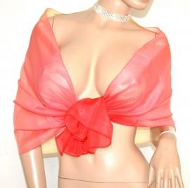 STOLA foulard beige rosa rosso corallo 40% seta donna coprispalle velato scarf A14