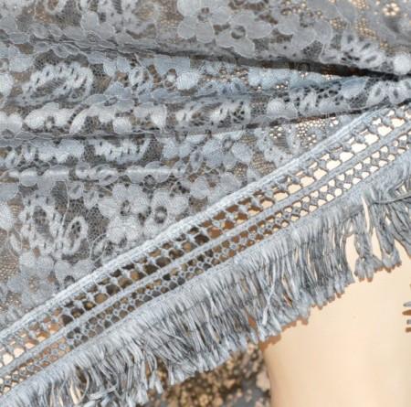 STOLA NERA scialle coprispalle maxi donna pizzo ricamato a punta triangolo frange bufanda G70