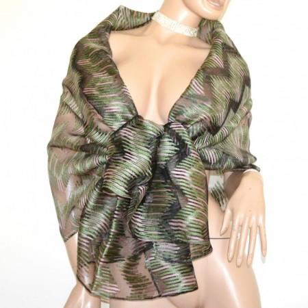 STOLA NERA VERDE ROSA maxi foulard 20%SETA donna coprispalle scialle velato trasparente sciarpa G60