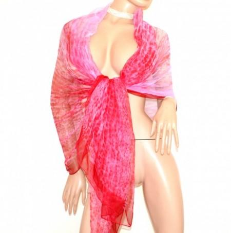 STOLA ROSA FUCSIA donna 100% SETA foulard velato coprispalle scialle sciarpa scarf G78