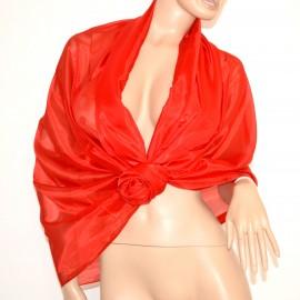 STOLA ROSSA 60% SETA donna foulard scialle elegante coprispalle cerimonia abito A52