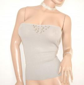 TOP FASCIA BEIGE SABBIA maglietta donna sottogiacca cristalli da cerimonia elegante party E55