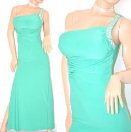 ABITO LUNGO donna VERDE acquamarina elegante vestito da sera MONOSPALLA  cristalli da cerimonia festa 60X af820e84617