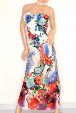 ABITO LUNGO donna vestito elegante fantasia BIANCO BLU ROSSO bandeau da cerimonia E125