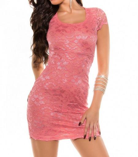 ABITO ROSA donna vestito mini tubino mezza manica pizzo ricamato schiena nuda AZ36