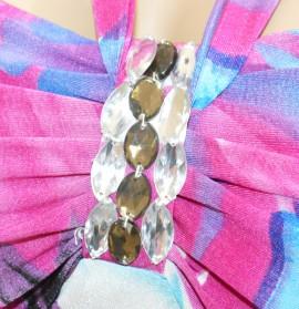 ABITO VESTITO donna BIANCO ROSA FUCSIA AZZURRO LILLA cristalli damigella elegante da cerimonia E25