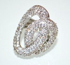ANELLO argento donna elastico ovale strass cristalli pavè fedina molla sposa A19