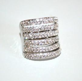 ANELLO donna argento fascia veretta strass fedina elegante sposa cerimonia A3