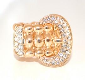 ANELLO oro dorato con strass brillanti elegante da cerimonia lucido elastico ring anillo 27