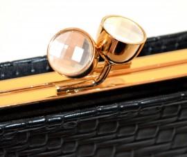 BORSELLO POCHETTE NERA ORO donna borsa dorata metallizzata cristalli clutch G52