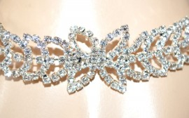 BRACCIALE argento donna strass cristalli rigido sposa elegante da cerimonia F100