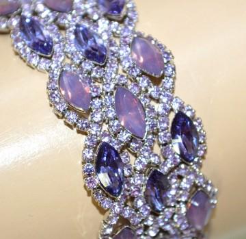 BRACCIALE donna cristalli rosa glicine lilla viola strass cerimonia bracelet BB6