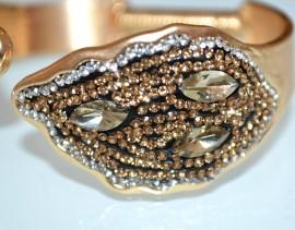 BRACCIALE donna oro ambra strass cristalli rigido elastico elegante cerimonia A9