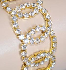 BRACCIALE donna oro cristalli strass da cerimonia elegante brillantini sposa Z8