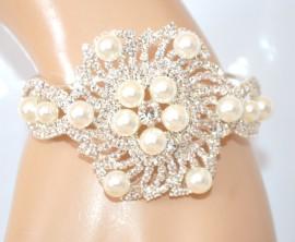BRACCIALE PERLE donna argento platino rigido strass cristalli sposa matrimonio E201