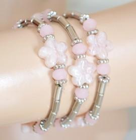 BRACCIALE tris argento fiori madraperla rosa donna elastico a molla sfere cristalli 85N