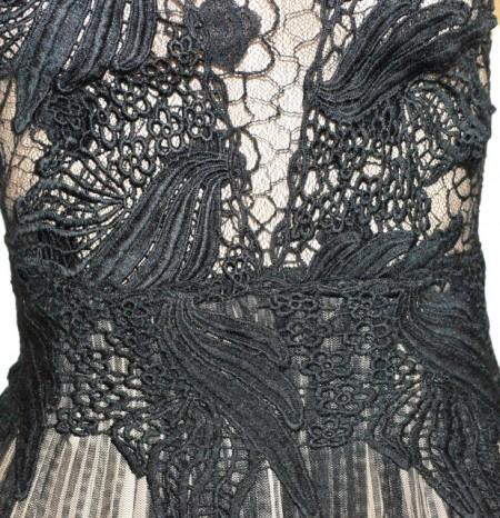 CANOTTA NERA donna top pizzo ricamato tulle velato maglia elegante cerimonia G95