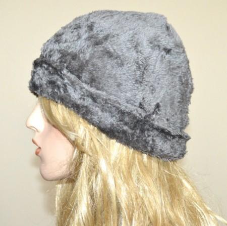 CAPPELLO GRIGIO donna berretto eco pelliccia copricapo velluto caldo inverno fur hat G1