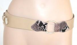 CINTURA BEIGE donna elegante stringivita eco pelle bustino elastico pitone fibbia ovale Z8