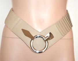 CINTURA donna stingivita BEIGE fibbia argento ecopelle elastica belte riem A16