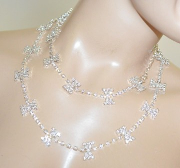CINTURA GIOIELLO donna argento fiocco metallo filo strass cristalli sposa BB24