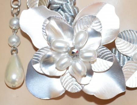 CINTURA GIOIELLO donna GRIGIO ARGENTO perle bianche fiori argento cristalli elegante BB35
