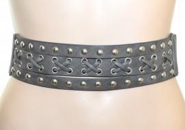 CINTURA GRIGIO stringivita donna elastica eco pelle bustino borchie chiodini A40
