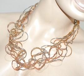 COLLANA ARGENTO ORO ROSA dorato donna girocollo multi fili collier elegante G10