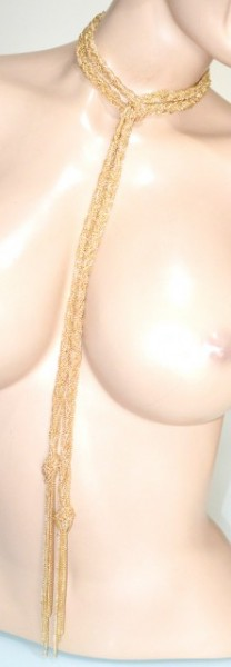 COLLANA CINTURA donna oro dorata multi fili lunga treccia nodo collier belt BB15