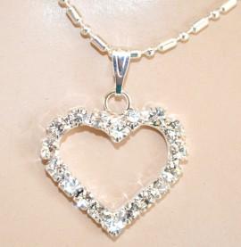 COLLANA donna ciondolo cuore argento girocollo catenina strass bigiotteria regalo F315