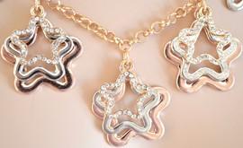 COLLANA donna lunga\girocollo cristalli strass argento oro brillantini a forma di stelle collar collier necklace halskette ожерелье A18