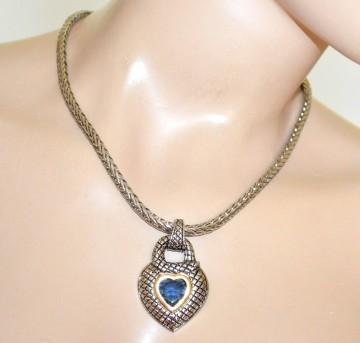 COLLANA girocollo argento donna catena etnica ciondolo cuore serpente  cristallo blu G72 9b02e7a682e
